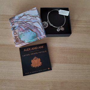 NWT - Alex & Ani Lotus Peace Petals Charm Bracelet